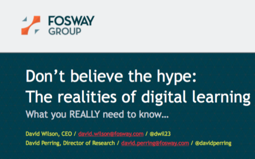 Cover shot of report - Don't believe the hype: The realities of digital learning, Fosway Group