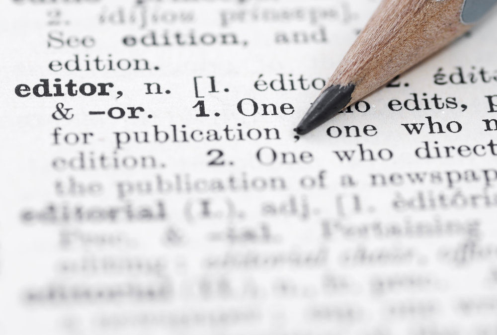 Dictionary definition of the word editor