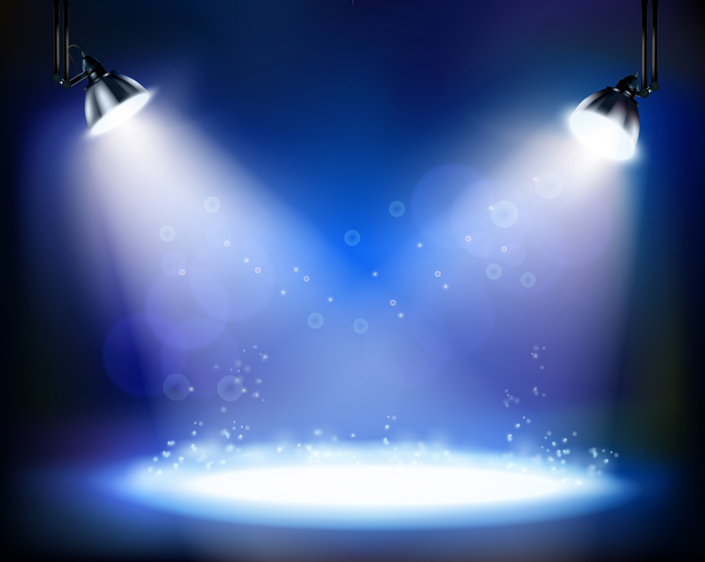 Spotlights on an empty stage